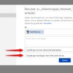 Über die beiden eingeblendeten Auswahlfelder legst du fest, ob Mitnutzer zum Aufruf des Dokuments ein Microsoft-Konto benötigen und ob sie die Datei bearbeiten dürfen oder nur eine Leseberechtigung erhalten.
