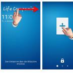 """Installierte Widgets kannst du nicht wie Apps starten. Um das runtergeladene oder ein anderes Widget zu installieren, rufst du den Sperrbildschirm auf. Wische am oberen Rand des Sperrbildschirms von links nach rechts. Tippe dann auf das große """"+""""-Zeichen."""