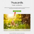 """Um eine neue Grußkarte zu erstellen, tippst du auf der Startseite auf den Button """"Grußkarte erstellen"""". (Quelle: Screenshot/pixacards.com)"""