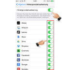 """Mit dem Schalter hinter """"Hintergrundaktualisierung"""" verbietest du allen Apps, im Hintergrund Daten aus dem Internet zu laden. Die Auswahl kannst du aber auch auf einzelne Anwendungen beschränken. Hierzu tippst du auf die Schaltfläche hinter der entsprechenden App."""