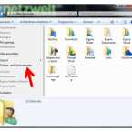 """Standardmäßig blendet Windows einige versteckte Ordner aus, die für das Backup jedoch von Bedeutung sind. Um die versteckten Verzeichnisse sichtbar zu machen, klicken Sie auf """"Organisieren"""" und wählen im Menü den Punkt """"Ordner- und Suchoptionen""""."""