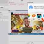 """Im iOS-Menü wählst du zunächst """"Öffnen mit…"""" aus und tippst im Anschluss die App an, mit der du die Datei weiterbearbeiten möchtest. Wir entscheiden uns für PicsArt. An dieser Stelle könntest du die Datei auch in eine Cloud deiner Wahl laden und per Messenger versenden."""