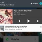 Das Musik-Player-Widget im Benachrichtigungsmenü.