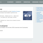 Unter dem Hashtag #cryptocalypse gibt es in Dresden eine Cryptoparty. Nutzer sind eingeladen, mit ihren Geräten vorbeizukommen, um diese verschlüsseln zu lassen. Außerdem wird erklärt, was Verschlüsselung überhaupt ist. (Quelle: Screenshot/casablanca-dresden.de)