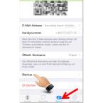 """Öffnet den Instant Messenger und wählt in der Menüleiste am unteren Bildschirmrand den Punkt """"Meine ID"""". Scrollt anschließend bis ihr an den Punkt """"Backup"""" gelangt. Tippt diesen an."""