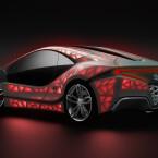 Die mit Stoff umspannte Hülle des Wagens wird mit LEDs illuminiert. Den Stoff...