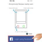 """Startet die App. Im Startbildschirm werdet ihr aufgefordert, euch mit eurem Facebook-Account anzumelden. Da es keine alternative Anmeldung gibt, tippt ihr auf """"Login using Facebook""""."""