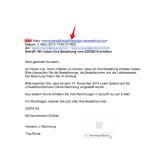 Zuerst solltet ihr den Absender der E-Mail prüfen. Die uns bekannten Spam-E-Mails enthalten als Absender nicht die korrekte E-Mail-Adresse oder Domain des Onlineshops. Das ist ein Anzeichen dafür, dass es sich um eine Spam-E-Mail handeln könnte.
