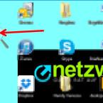 Anschließend wird beim ersten Öffnen der Bildschirmlupe euer Desktop auf 200 Prozent vergrößert. Außerdem erscheint eine Lupe auf dem Bildschirm. Um wieder die normale Größe für die Schrift einzustellen, klickt ihr die Lupe an.