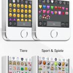 Es gibt zahlreiche Kategorien, in denen sich Sticker und Emojis befinden.