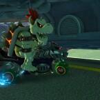 Knochen-Bowser mit seinem Gefährt.