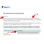 Besonders gemein: Die Kriminellen berufen sich auf Angriffe auf PayPal und möchten das ihr euer Konto verifiziert. Allerdings handelt es sich auch hier um eine Phishing-Nachricht. Ihr erkennt die Fälschung an der fehlenden Anrede (1), Rechtschreibfehlern im Text (2) und an dem Ziel der Verlinkung (3). Der Link verweist nicht auf www.paypal.com. Besonders gefährlich ist, dass auch die gefälschte Webseite aktuell noch online ist.