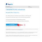 Diese E-Mail ist kaum von einem Original zu unterscheiden. Sie enthält die korrekte E-Mail-Adresse und den vollständigen Namen des Nutzers. Nur der Link hinter dem blauen Button (1) führt nicht auf die PayPal-Webseite, sondern auf eine infizierte Seite. Wir erklären in unserem Artikel in einem Video, wie ihr das tatsächliche Ziel des links ganz einfach ermitteln könnt.