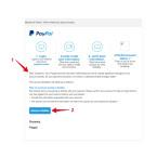 Die Phishing-Mails werden nun auch in englischer Sprache versendet. Zu erkennen sind sie trotzdem, beispielsweise an der fehlenden Anrede (1). Außerdem führt der Link nicht zu Paypal, sondern zu einer ganz anderen Webseite (2).