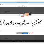 """An dieser Stelle habt ihr zwei Möglichkeiten, eure Unterschrift hinzuzufügen. Wählt die Funktion """"Zeichnen"""". Ihr könnt nun mit der Maus unterschreiben. Seid ihr mit dem Ergebnis zufrieden, speichert und übernehmt ihr die Unterschrift mit einem Klick auf """"Anwenden"""". Ist euch der erste Versuch nicht gelungen, klickt ihr rechts neben dem Feld auf """"Entfernen"""", und ihr versucht es erneut."""
