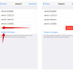 """Über den Link """"Kontakt hinzufügen …"""" setzt ihr weitere gespeicherte Kontakte auf die Sperrliste eures iPhone. Wischt ihr auf einem gesperrten Kontakt von rechts nach links, so könnt ihr diesen von der Sperrliste entfernen. Tippt dazu auf """"Sperre aufheben""""."""