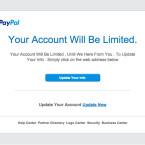 Auch in englischer Sprache informieren die Betrüger euch über ein gefälschtes Konto und versuchen euch auf eine Phishing-Webseite zu locken.
