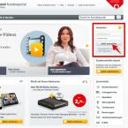 """Ruft euch die Webseite www.kabeldeutschland.de auf und gebt oben rechts eure Zugangsdaten für das Kundenportal ein. Klickt anschließend auf """"Jetzt anmelden""""."""