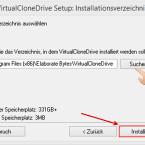 """Jetzt könnt ihr den Speicherort für Virtual CloneDrive ändern. Ist dieser festgelegt, startet ihr die Installation mit einem Klick auf """"Installieren"""". Im Laufe des Prozesses werdet ihr eventuell gefragt, ob ihr einen Treiber für den Speichercontroller installieren wollt. Bestätigt diese Installation mit einem Klick auf """"Ja""""."""