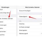 """Öffnet die Einstellungen und tippt auf """"Mail, Kontakte, Kalender"""". Unterhalb der eingerichteten Accounts findet ihr den Punkt """"Datenabgleich"""". Tippt den Menüpunkt an."""