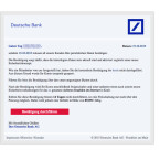 Diese Phishing-E-Mail enthält eine persönliche Anrede mit dem richtigen Namen des Kunden. Ihr sollt eure Daten bestätigen und damit das Konto sicherer machen. Doch genau das Gegenteil ist der Fall. Der Link führt auf eine infizierte Webseite, wo kriminelle eure Daten abgreifen. Klickt den Link auf keinen Fall an. Wenn ihr unsicher seid, ruft die Webseite der Deutschen Bank manuell im Browser auf und loggt euch in das Onlinebanking ein.