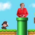 """Der bayrische Polizist als Goomba im """"Super Mario""""-Universum."""