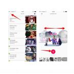"""Nach dem Download tippt ihr oben links auf den kleinen Pfeil. Auf der Startseite könnt ihr bei einigen Vorlagen innerhalb der heruntergeladenen Szenen noch verschiedene Motive wählen. Wischt dazu nach links oder rechts. Habt ihr euch entschieden, tippt ihr auf das große """"+"""", um ein Video mit dem angezeigten Motiv zu erstellen."""