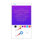 Im dritten Schritt wird euch die fertige Animation noch einmal angezeigt. Optional verändert ihr die Farben, indem ihr auf die vorgefertigten Farb-Designs tippt (1). Um den animierten Grußtext zu versenden, tippt ihr auf das Messenger-Icon (2). Anschließend müsst ihr nur noch den oder die Empfänger auswählen.