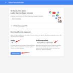 """Nun passt ihr das Downloadformat an. Legt fest, welchen Dateityp euer Archiv haben soll. Zur Auswahl steht das ZIP-, das TGZ- und das TBZ-Format. Dabei bekommt ihr schon den Hinweis, dass Archive mit einer Größe über zwei Gigabyte in mehrere ZIP-Dateien aufgeteilt werden. Außerdem entscheidet ihr, ob euch der Downloadlink per E-Mail zugesendet wird oder ihr die Datei in Google Drive speichert. Entscheidet ihr euch für Variante zwei, wird euch ebenfalls eine E-Mail zugesendet, sobald die Datei gespeichert ist. Habt ihr alles eingestellt, klickt ihr auf """"Archiv erstellen""""."""