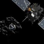 Die Landeeinheit Philae (links) wurde erfolgreich von Rosetta abgekoppelt. (Bild: ESA)