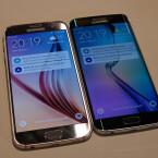Das Galaxy S6 (links) und das Galaxy S6 Edge bilden die neue Doppelspitze im Produktportfolio des südkoreanischen Herstellers Samsung. Sie bieten eine Pixeldichte von 577 ppi.