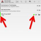 Der Account und die E-Mails werden mit der festgelegten Farbe gekennzeichnet. Das sorgt für mehr Übersicht. (Bild: Screenshot/K-9 Mail)