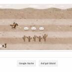 Mit Steuertasten Briefe einsammeln und Hindernissen ausweichen: der Pony Express als Google Doodle.