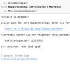 Sie erhalten dann eine E-Mail mit einem Bestätigungslink an die eingegebene Mail-Adresse. Klicken Sie diesen Link an, um mit der Registrierung fortzufahren.  (Bild: Screenshot / E-Mail)