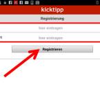 Geben Sie anschließend Ihre E-Mail-Adresse und ein ausgedachtes Passwort ein. (Bild: Screenshot / Kicktipp-App für Android)