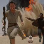 Finn und Rey auf der Flucht.