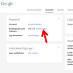 """Die Einstellungen für die Bestätigung in zwei Schritten können Sie jederzeit bearbeiten. Klicken Sie dazu auf der Registerkarte """"Sicherheit"""" hinter """"Bestätigung in zwei Schritten"""" auf """"Einstellungen"""". (Bild: Screenshot / google.com)"""