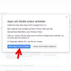 """Durch die Einrichtung der Bestätigung in zwei Schritten werden Sie automatisch von allen Geräten und Apps abgemeldet. Deshalb müssen Sie Ihr Smartphone oder das iPhone neu mit Ihrem Google-Konto verbinden. Das betrifft auch alle Google-Apps die Sie auf den Geräten nutzen, wie die Gmail-App oder Google+. Klicken Sie auf """"Meine Apps erneut verbinden"""". (Bild: Screenshot / google.com)"""