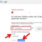 """Geben Sie Ihre Telefonnummer ein. Haben Sie in Ihrem Google-Konto bereits eine Handynummer erfasst, so wird diese automatisch angezeigt. Darunter wählen Sie, ob Sie die Codes per SMS oder Sprachanruf erhalten möchten. Wir empfehlen die Zusendung als SMS. Klicken Sie abschließend auf den Button """"Code senden"""". (Bild: Screenshot / google.com)"""