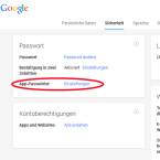"""Weitere App-Passwörter für Anwendungen, die mit der Bestätigung in zwei Schritten inkompatibel sind, erstellen Sie auf der Registerkarte """"Sicherheit"""" unter dem Punkt """"App-Passwörter"""". Klicken Sie auf """"Einstellungen, um die Passwörter zu generieren. (Bild: Screenshot / google.com)"""