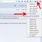 """In der Taskleiste findest du das Symbol des Tools. Klicke auf den Pfeil rechts neben dem Symbol und wähle in der Liste """"Mac / Safari 7"""" aus."""