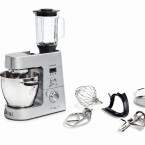 Kenwood hat mit der Cooking Chef ebenfalls ein Multitalent mit integrierter Kochfunktion auf dem Markt. Zwei Versionen sind erhältlich - mit (KM096) oder ohne Mixaufsatz und Multi-Zerkleinerer (KM094).