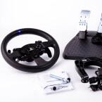 Für 300 Euro gibt es das Lenkrad T300 RS mit Force Feedback und Pedalen.