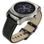 Der Star am LG MWC-Stand? Die neue Smartwatch LG Watch Urbane ist eine luxuriöse Uhr mit Edelstahlgehäuse und Lederarmband. (Bild: LG)
