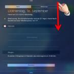 Um die Benachrichtigungs-Widgets zu bearbeiten, ziehst du die Benachrichtigungen mit dem Finger vom oberen Bildschirmrand nach unten.