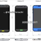 Diese Skizze soll das Galaxy S7 Edge, das Galaxy S7 und das Galaxy S6 im Größenvergleich zeigen.