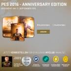 Die Anniversary Edition von PES 2016 erscheint in einer Steelbook-Hülle.
