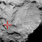 Philae soll hier zum ersten Mal 67P/Churyumov-Gerasimenko erreicht haben. (Bild: ESA/Rosetta/MPS for OSIRIS Team MPS/UPD/LAM/IAA/SSO/INTA/UPM/DASP/IDA)