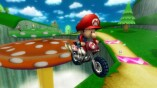 Baby Mario springt mit einem Motorrad.