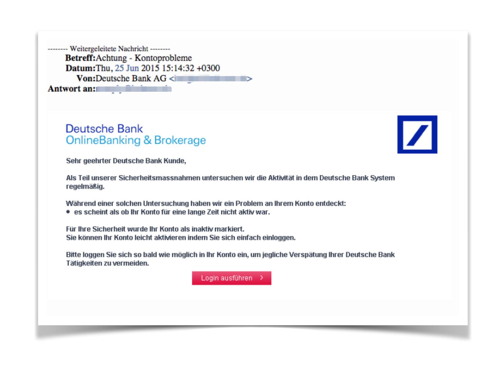 Deutsche Bank Phishing Diese E Mails sind aktuell im Umlauf ...